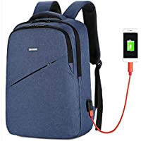 Business Travel Backpack,Laptop Backpack with USB Charging Port for Men Womens Boys Girls, Water Resistant College School Computer Bag for Women & Men Fits 15.6 inch Laptop and Notebook (Blue)
