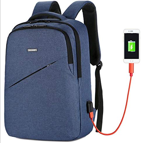 blueee Business Travel Backpack,Laptop Backpack with USB Charging Port for Men Womens Boys Girls, Water Resistant College School Computer Bag for Women & Men Fits 15.6 inch Laptop and Notebook (blueee)