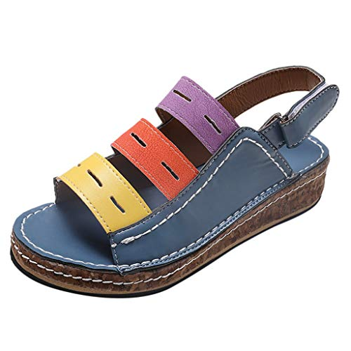 Women Sporty Outdoor Sandal Shoe Flip Flops Summer Platform Strap Wedges Sandal Slippers Casual Peep Toe Shoes Blue
