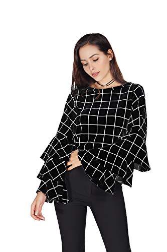 Women's Round Neck Plaid Ruffled Long Sleeve Shirt (X-Small, Black) ()