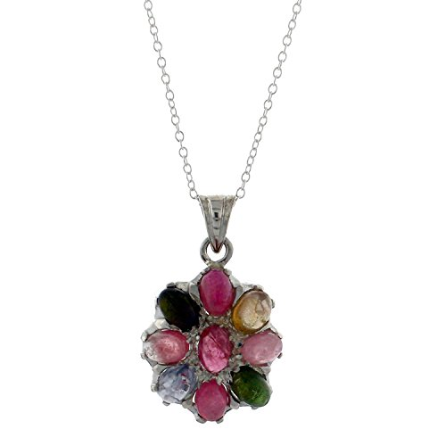Avatar Sterling Sterling Silver and Multi-Colored Tourmaline Pendant on 18 Inch Cable Chain