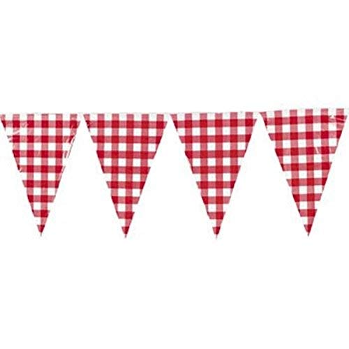 HAPPY DEALS ~ 1 - Large (Plastic) Red and White Checkered Gingham Pennant Banner - 24 feet Long