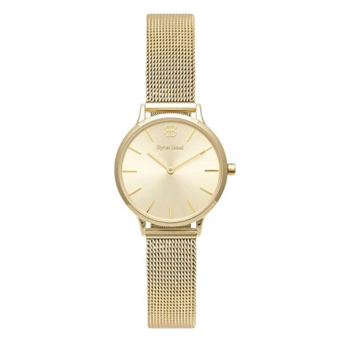 Byron Bond Mark 5 - Luxury 32mm Wrist Watches for Women (Regent - Gold Case with Gold Dial and Gold Mesh Strap)