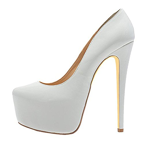 Womens Sexy Platform High Heels Slip On Pointed Toe Stiletto Party Dress Pump White Pu 7sy50d