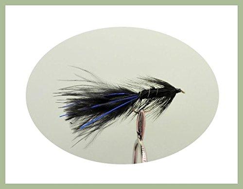 12 pack of Black Blue Flash Damsel Lures Fishing Flies Size 10