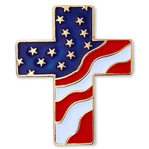 PinMart's American Flag Cross Patriotic Enamel Lapel Pin with Magnetic Back (Cross Pin Craft)