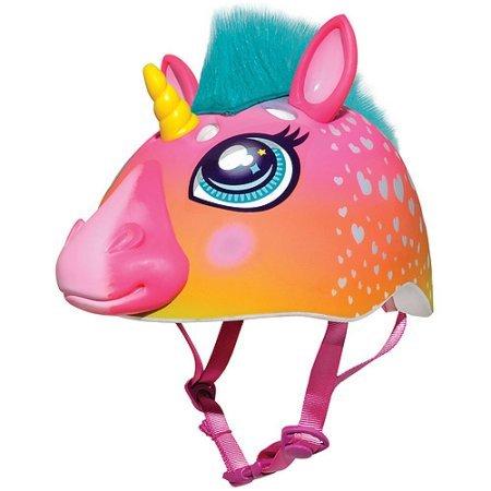 (Raskullz Super Rainbow Unicorn Hair Dark Pink 3D Bike Helmet, Child)