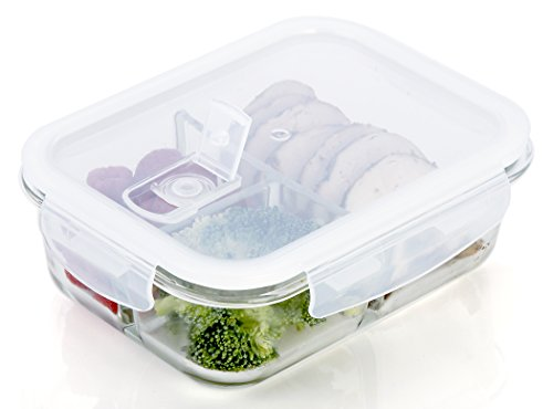 2 3 Compartment Glass - Food Storage with Food Box, Lunch Box, Portion Airtight
