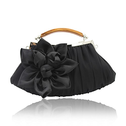 Floral Chiffon Black Sheer evening kingluck Embellish Out Exterior Clutch Party Collection BAxqdwt