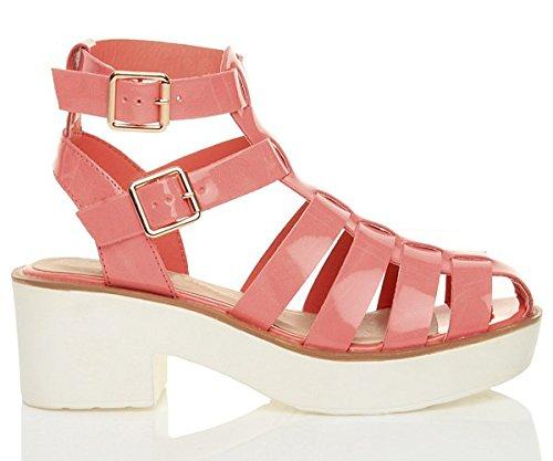 sandales pointure Corail spartiates gladiateur Vernis moyen Rose plateforme lanières talon Femmes A8Yw0w