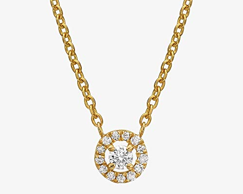 Diamond Halo Necklace, Solid Gold and 0.11 ct. Natural White Diamond Dainty Chain Layered Pendant Necklace, Classic Jewelry Gift For Women, Handmade Affordable Gift in 14k/18k White/Rose/Yellow Gold (0.11 Ct Diamond Pendant)