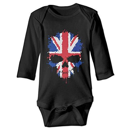 British Flag Skull Printed Infant Baby Boy Girl Long-Sleeved Bodysuit Jumpsuit Outfits -
