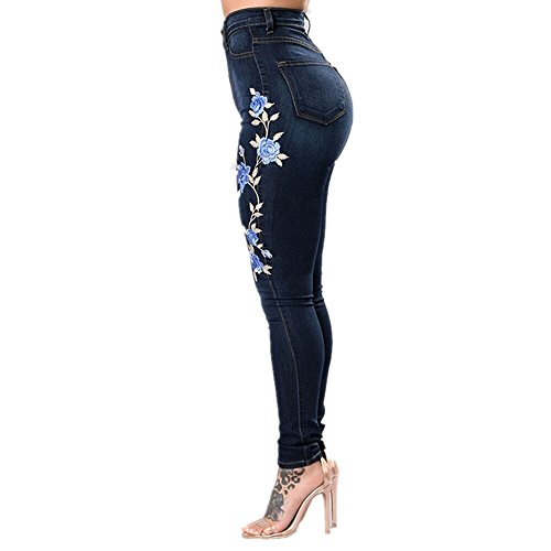 color Jeans Spezzati Blu Ricamati Blue L Size Blue Da Stretch Donna Otprdirect gwdqp00