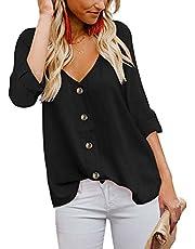 KISSMODA Frauen ärmellose Bluse V-Ausschnitt Button-Down-Shirt Casua Weste Tops