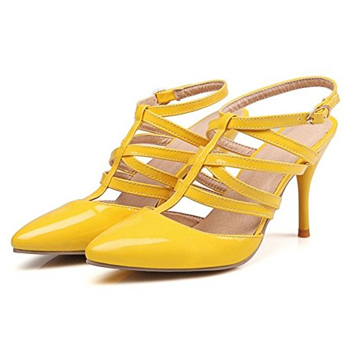 SJJH Thin Heel Women Sandals with Plus Size 11 UK and 4-Colors Available Casual Working Shoes Comfortable and High Fashion Yellow dxEQA1CMYt