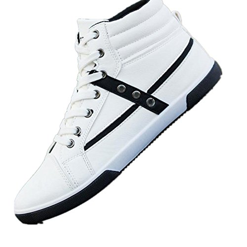 Sky Zapatillas de Deporte Los Zapatos de Los Hombres Ocasionales Clásicos de Los Hombres Forman Los Altos Zapatos de Bangban Calzado de Cuero de Otoño (45, Blanco)