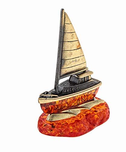 Brass and Amber Yacht Figurine Original Souvenir from Kaliningrad, Russia. Packed in a Beautiful Siberian Birch Bark Gift Box (Random Selection)