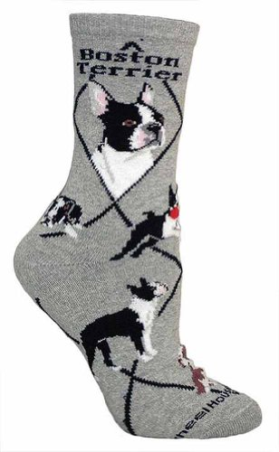 Boston Terrier Socks (size:adult 9-11)