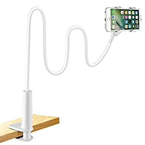 Cell Phone Holder, Lonzoth Universal Phone Holder Clip Lazy Bracket Flexible Gooseneck Clamp Long Arms Mount for iPhone 8/7/6s plus,Mobile Stand for Bedroom, Office, Bathroom (Phone Stand|White)