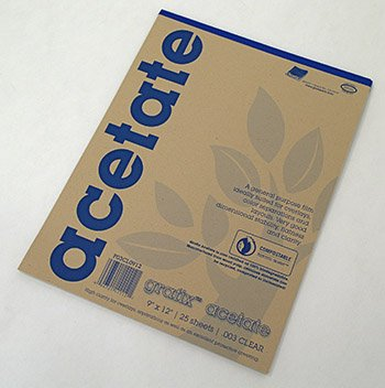 12 X 12 Acetate - Grafix Acetate Pad, 9 X 12 in, Clear, 25 Sheets/Pad