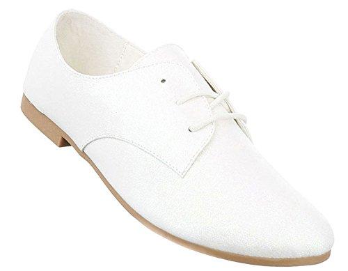 Damen Halbschuhe Schuhe Schnürer Elegant Schwarz Schwarz Rot Gold Silber Weiß 36 37 38 39 40 41 Weiß