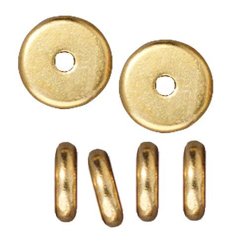 Bright 22K Gold Plated Lead-Free Pewter Disk Heishi Spacer Beads 7mm - Disc Beads Gold Plated