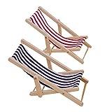 GZQ 2 Pcs Foldable Miniature Beach Chair 1:12 Mini Wooden Striped Lawn Deck Chair for Dollhouse Garden Store