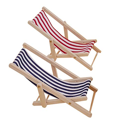 GZQ 2 Pcs Foldable Miniature Beach Chair 1:12 Mini for sale  Delivered anywhere in USA