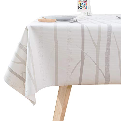 LOHASCASA Vinyl Oilcloth Tablecloth Rectangular Water Proof/Oil-Proof Wipeable PVC Heavy Duty Plastic Large Tablecloths for Outdoor Camping,Living Room - Summer Cream White 54 x 78 Inch