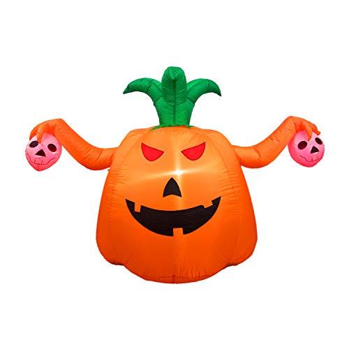 Dreamone 5 Foot Halloween Inflatable Pumpkin with Skull for Halloween Indoor Outdoor Yard Garden Party Decorations