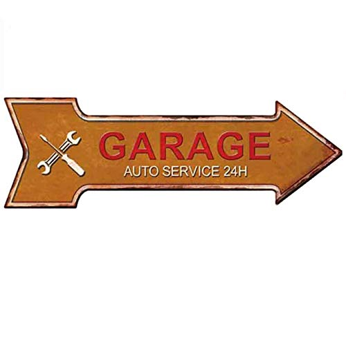 HANTAJANSS Garage Signs Arrow Retro Metal Signs for Wall Decoration