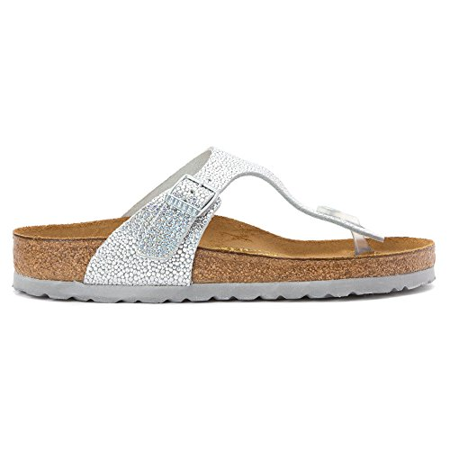 Birkenstock Women's Gizeh Sandal Pebbles Metallic Silver Leather Size 37 M EU