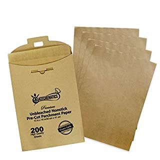 """Parchment Paper Sheets 200 Pre-Cut Sheets fits Standard Half Sheet Pans - Unbleached Non-Stick, No Curl or Burn, Safe to Use for Food, Premium Quality - 12"""" x 16"""" Oven Cook, Bake, Grill, Steam, Broil"""