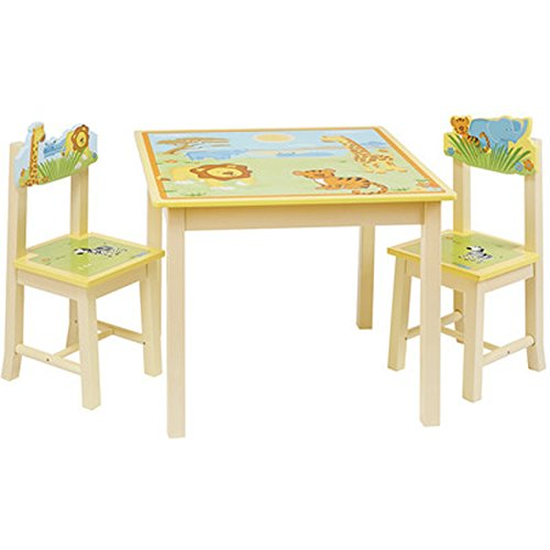 Hand Painted Childrens Table (Savanna Smiles 3 Piece Rectangular Table & Chair Set, Hand Painted Striped/Animal Theme, Pale Yellow/Multi-color)