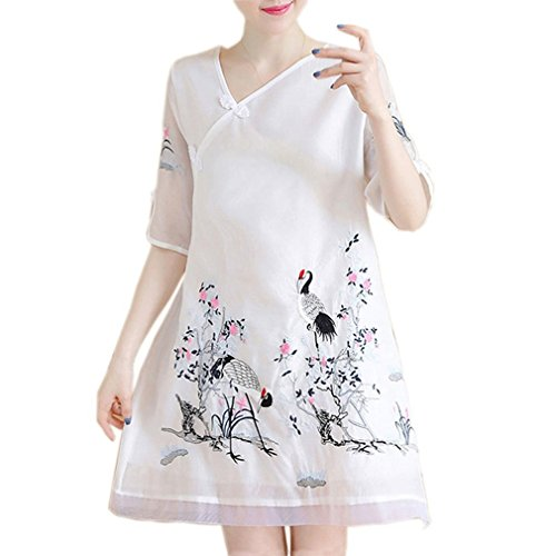 Femmes Lisong Broderie Imprimer Col Chinois Qipao Cheongsam Robe Blanche Midi 1