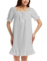 Adorneve Women's Cotton Sleepwear Soft Nightdress Victorian Vintage Nightgown