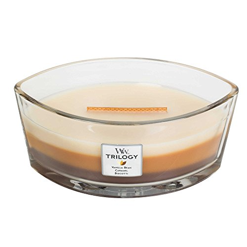 - CAFE SWEETS WoodWick New Trilogy Collection HearthWick Flame Large Oval Jar 3-in-1 Scented Candle - 16 Ounces