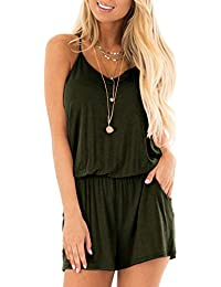 6e365f08a73 Womens Casual Summer One Piece Sleeveless Spaghetti Strap Playsuits Short Jumpsuit  Beach Rompers Army Green X