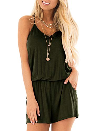 - REORIA Womens Casual Summer One Piece Sleeveless Spaghetti Strap Playsuits Short Jumpsuit Beach Rompers Army Green Medium