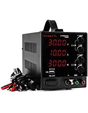 DC Power Supply Variable 30V 10A, KAIWEETS 4-Digits Display(00.01V, 00.01A) Adjustable Switching Regulated Power Supply with 115CM Alligator Leads, USB Interface, US Power Cord