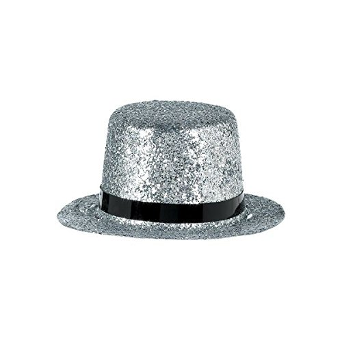 Glamorous 20's Old Hollywood Themed Party Silver Mini Glitter Top Hat Accessories, Plastic, 2