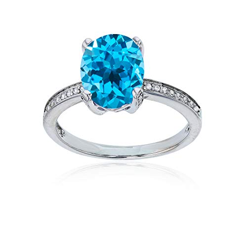 (Sterling Silver Rhodium 1mm Created White Sapphire Channel Set & 10x8 Oval Swiss Blue Topaz Engagement Ring)