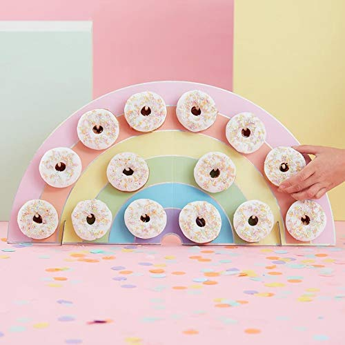 Donut Wall Baby Shower Decorations Pastel Rainbow for Unicorn Baby Showers Unicorn Theme Baby Shower Holds 14 Donuts 13'' x 24''