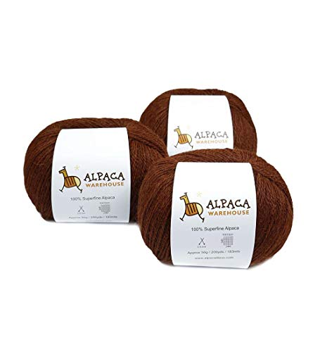 100% Alpaca Yarn Wool Set of 3 Skeins Fingering Weight (Copper)