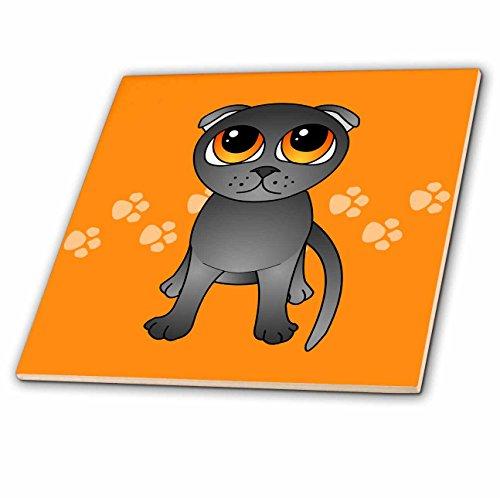 (3dRose ct_77510_2 Cute Grey Scottish Fold Cat Cartoon-Orange Eyes-Orange Pawprints Ceramic Tile, 6-Inch)