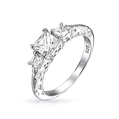 Art Deco Style Filigree 3CT Round Solitaire 3 Stone Past Present Future Promise CZ Engagement Ring 925 Sterling Silver