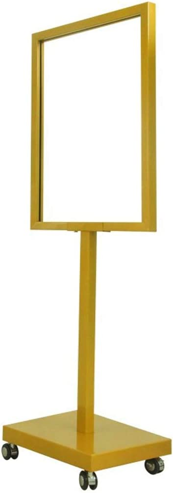 WQE Poster Stand Adjustable Advertising Frame Poster Frame Advertising Stand-up Replaceable Advertising Frame Sign Frame Poster Stand Floor Standing Color : Gold, Size : 50 * 70CM