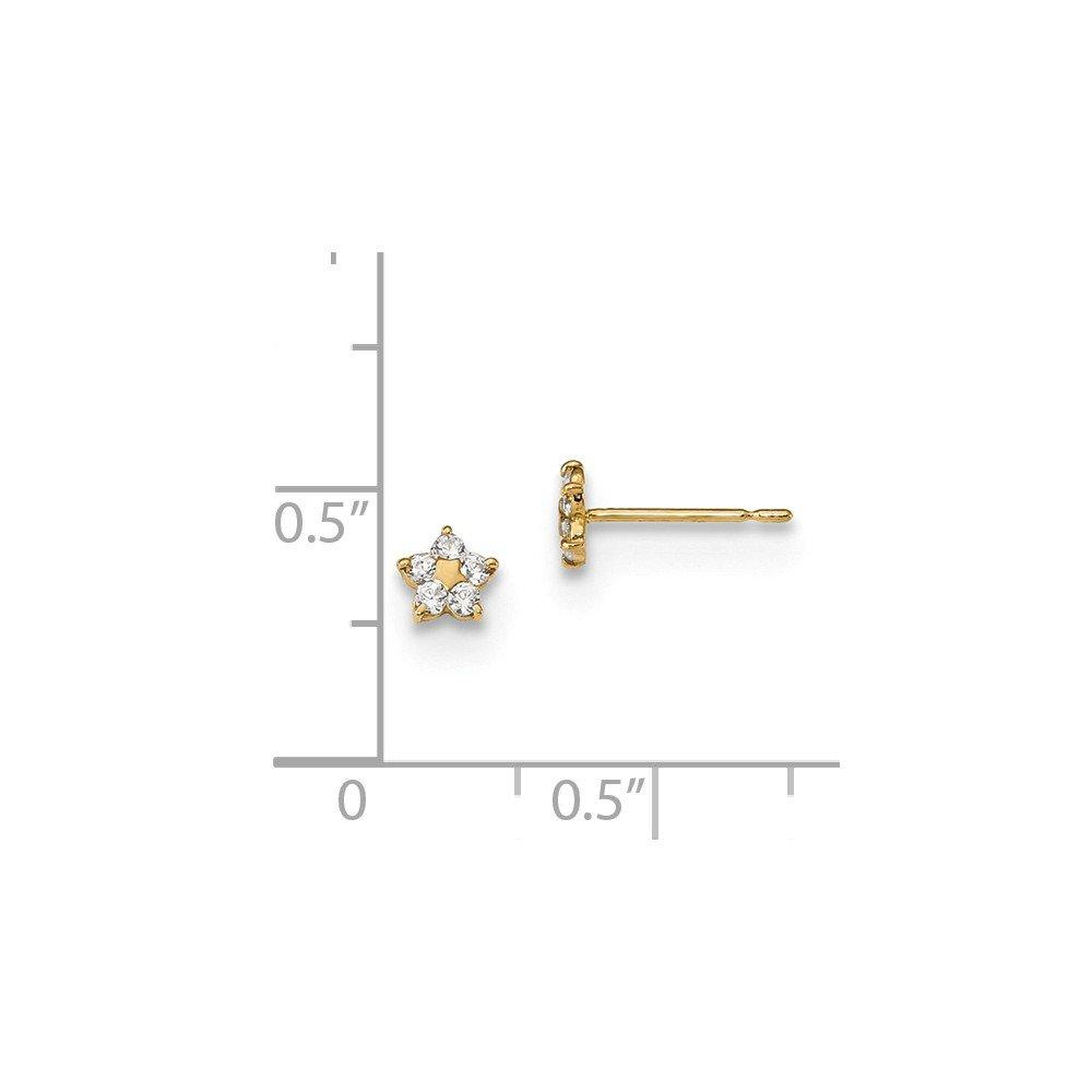14K Yellow Gold Jewelry Button Earrings Solid 4.5 mm 4.6 mm Madi K Kids CZ Star Post Earrings