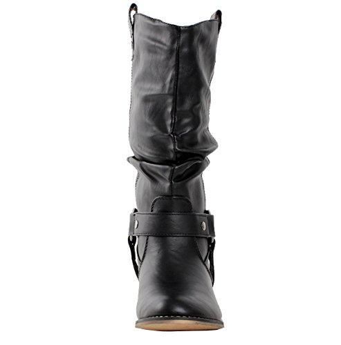 Women Cowboy Boots Style Western Wild Black Refresh 02 Premium ACXqd6w