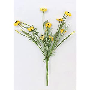 """Floral Home Mini Paper Aster Wildflower Bush in Yellow - 18"""" Tall - Set of 3 77"""